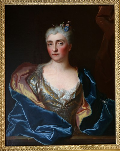 Paintings & Drawings  - -Portait of a lady of quality -  Workshop of Hyacinthe Rigaud (1659-1743)