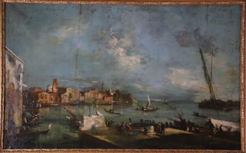 School of Francesco Guardi of the late 18th-Venice View - Paintings & Drawings Style Directoire