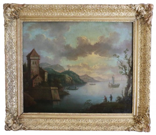 Live maritime landscape -  French School of the late eighteenth attributed to Louis-Philippe Crépin