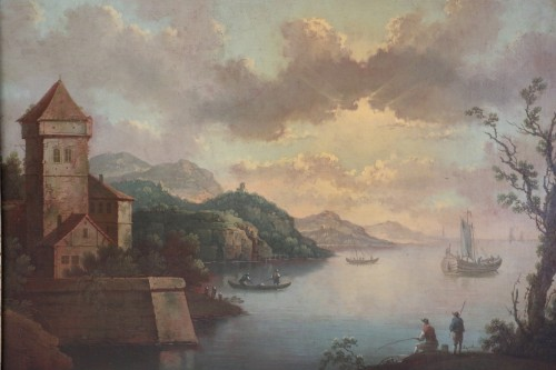 Paintings & Drawings  - Live maritime landscape -  French School of the late eighteenth attributed to Louis-Philippe Crépin