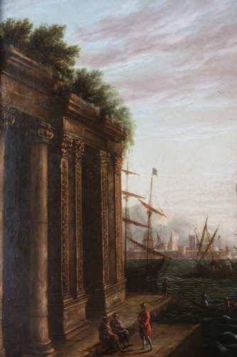 Marine and Architectural Whim - Workshop of Joseph Vernet (1714-1789)  -