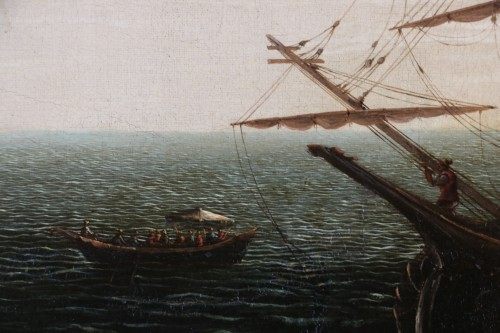 Antiquités - Marine and Architectural Whim - Workshop of Joseph Vernet (1714-1789)