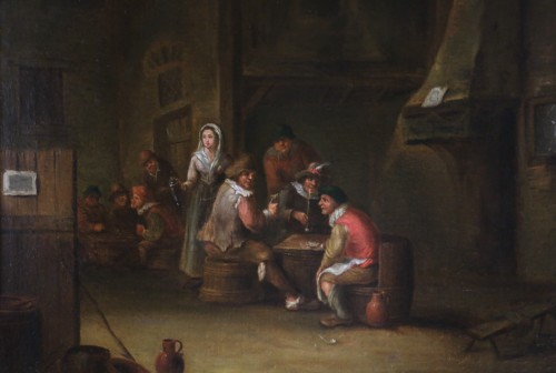 Paintings & Drawings  -  18th century Dutch school - indoor scene of a tavern