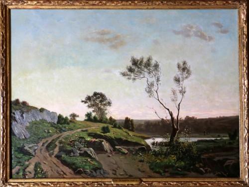 Paintings & Drawings  - Henri Joseph Harpignies (1819-1916) -Landscape of the Burgundy countryside