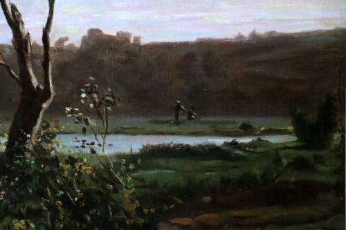19th century - Henri Joseph Harpignies (1819-1916) -Landscape of the Burgundy countryside