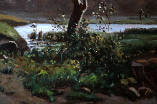 Henri Joseph Harpignies (1819-1916) -Landscape of the Burgundy countryside  -