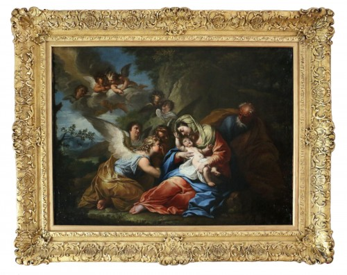 The rest of the holy family - 17th century Roman School attributed to Francesco Trévisani (1656-1746)