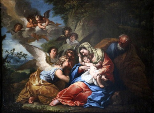 The rest of the holy family - 17th century Roman School attributed to Francesco Trévisani (1656-1746) - Paintings & Drawings Style Louis XIV