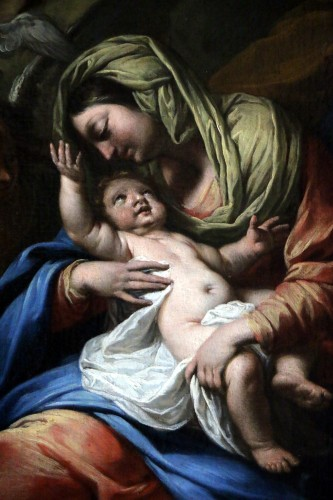 The rest of the holy family - 17th century Roman School attributed to Francesco Trévisani (1656-1746) - Louis XIV