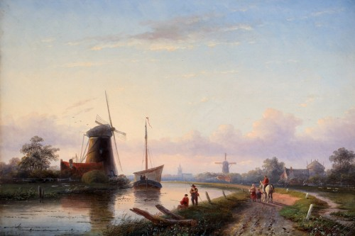 Paintings & Drawings  -  Jan Jacob Spohler (1811-1879) - Animated landscape along a canal