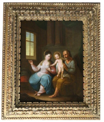 Flemish school of the 17th century monogrammed -The holy family in an interior