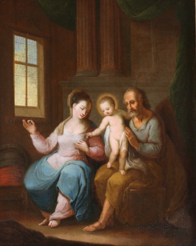 Flemish school of the 17th century monogrammed -The holy family in an interior - Paintings & Drawings Style Louis XIV