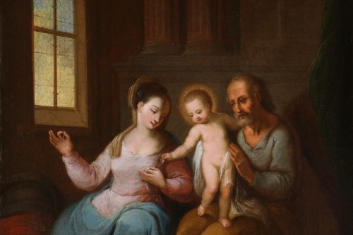 Paintings & Drawings  - Flemish school of the 17th century monogrammed -The holy family in an interior