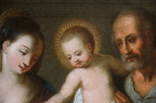Flemish school of the 17th century monogrammed -The holy family in an interior - Louis XIV