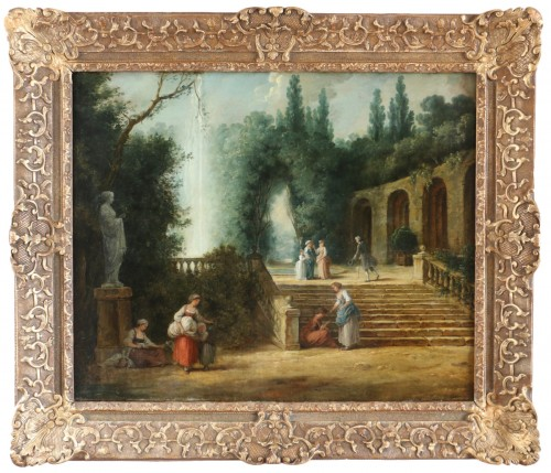 Scene in the gardens of the Palazzo Corsini -  French School of the late 18th century attributed to Hubert Robert's studi