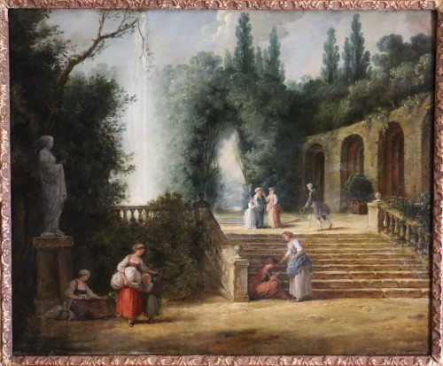 Scene in the gardens of the Palazzo Corsini -  French School of the late 18th century attributed to Hubert Robert's studi - Paintings & Drawings Style Louis XVI