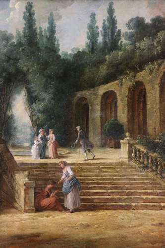 Paintings & Drawings  - Scene in the gardens of the Palazzo Corsini -  French School of the late 18th century attributed to Hubert Robert's studi