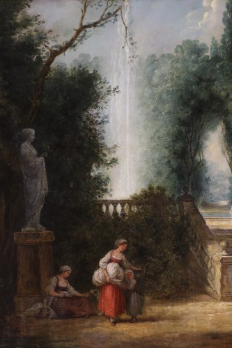 Scene in the gardens of the Palazzo Corsini -  French School of the late 18th century attributed to Hubert Robert's studi -