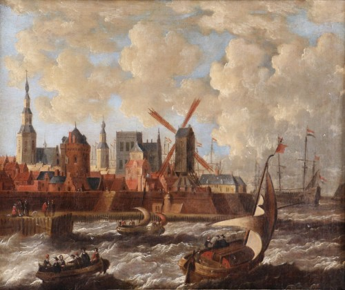 Port city of Holland - Peter van den Velde (1634-1687) - Paintings & Drawings Style Louis XIII