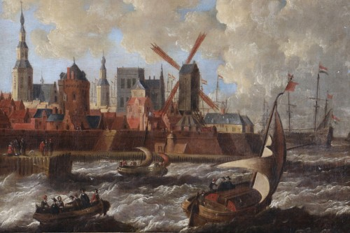 Paintings & Drawings  - Port city of Holland - Peter van den Velde (1634-1687)