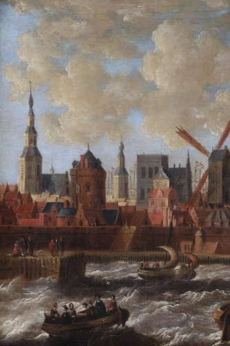 17th century - Port city of Holland - Peter van den Velde (1634-1687)