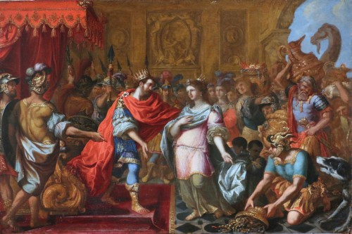 Northern Italian School circa 1650 - King Solomon receives the Queen of Sheb