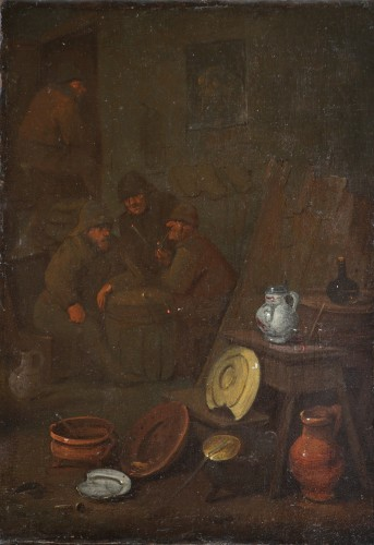 18th century Dutch school - Tavern scene and still life - Paintings & Drawings Style Louis XVI