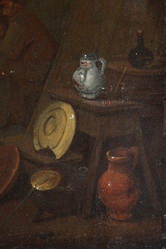 18th century Dutch school - Tavern scene and still life -