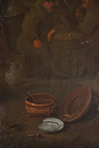 18th century - 18th century Dutch school - Tavern scene and still life