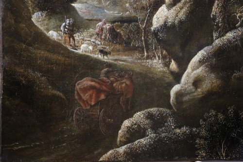 Joos II of Momper (1564-1635) attributed - Animated landscape  - Paintings & Drawings Style