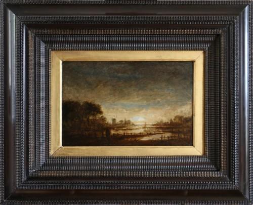 Landscape at sunset - attribué,  to  Aert Ivan der Neer (1603-1677)