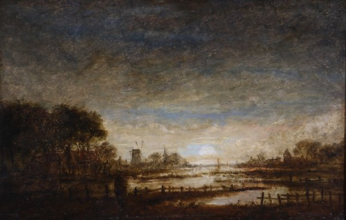 Landscape at sunset - attribué,  to  Aert Ivan der Neer (1603-1677) - Paintings & Drawings Style Louis XIII