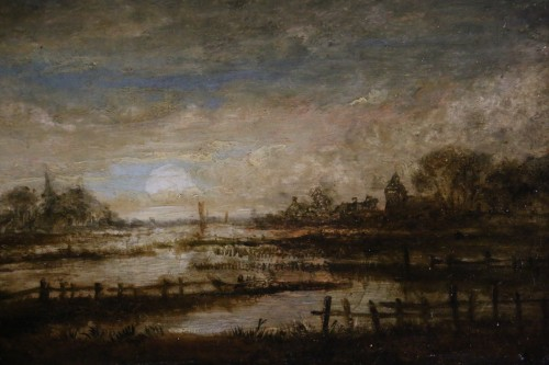 Landscape at sunset - attribué,  to  Aert Ivan der Neer (1603-1677) -