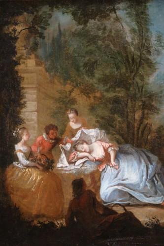 Nicolas Lancret (1690-1743) and Atelier - Scène gallant in a park -