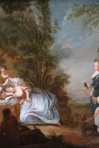 18th century -  Nicolas Lancret (1690-1743) and Atelier - Scène gallant in a park