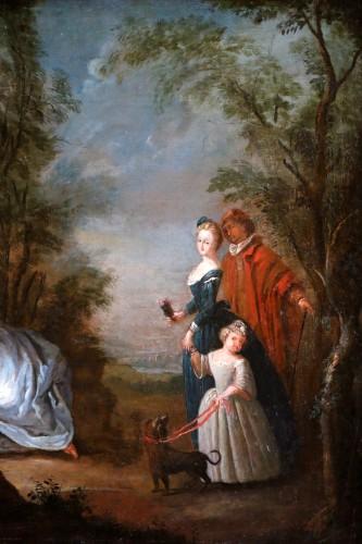 Nicolas Lancret (1690-1743) and Atelier - Scène gallant in a park - Louis XV