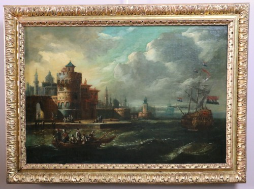 Adriaen van der Kabel . Marine and port scene in front of a Byzantin town