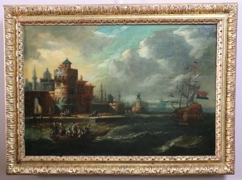 Adriaen van der Kabel . Marine and port scene in front of a Byzantin town