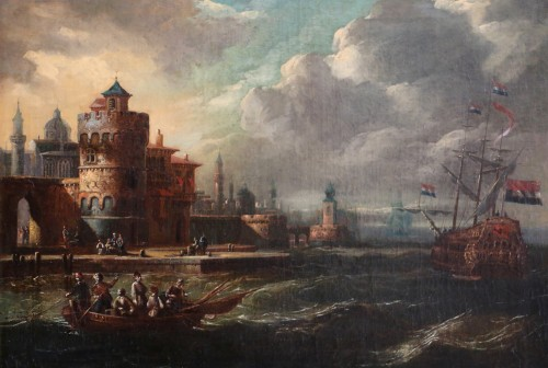 Adriaen van der Kabel . Marine and port scene in front of a Byzantin town - Paintings & Drawings Style Louis XIV