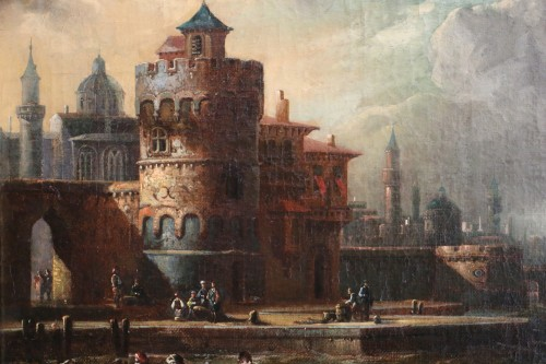 Paintings & Drawings  -  Adriaen van der Kabel . Marine and port scene in front of a Byzantin town
