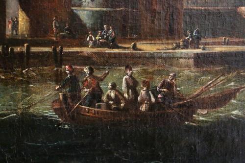 Adriaen van der Kabel . Marine and port scene in front of a Byzantin town -