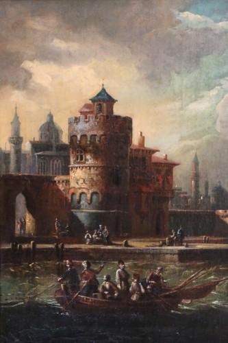 17th century -  Adriaen van der Kabel . Marine and port scene in front of a Byzantin town