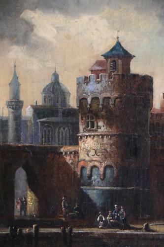 Adriaen van der Kabel . Marine and port scene in front of a Byzantin town - Louis XIV