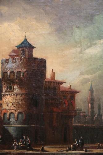 Louis XIV -  Adriaen van der Kabel . Marine and port scene in front of a Byzantin town