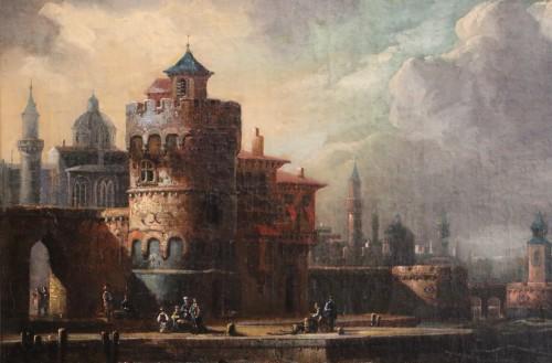 Antiquités -  Adriaen van der Kabel . Marine and port scene in front of a Byzantin town