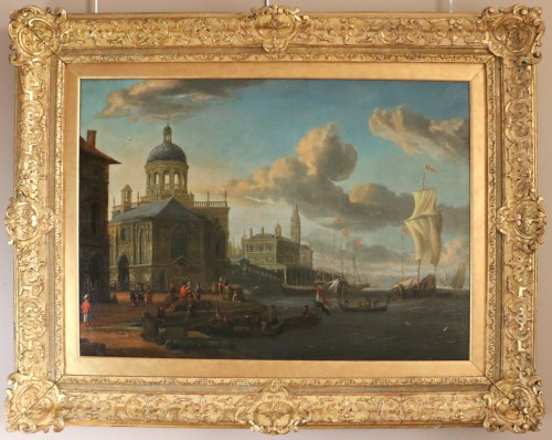 Jacobus Storck (Amsterdam, 1641-1687) signed-Marine and Venetian capriccio