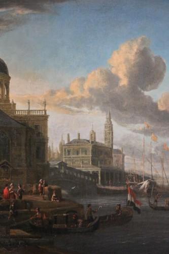 17th century -  Jacobus Storck (Amsterdam, 1641-1687) signed-Marine and Venetian capriccio