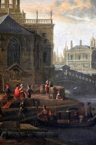 Jacobus Storck (Amsterdam, 1641-1687) signed-Marine and Venetian capriccio - Louis XIV