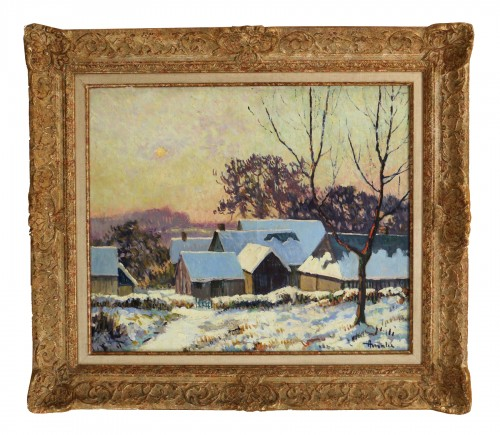 Albert Malet (1912-1986)  - Norman countryside under the snow