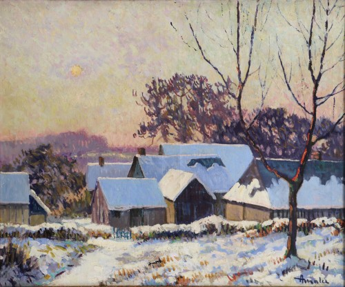 Paintings & Drawings  - Albert Malet (1912-1986)  - Norman countryside under the snow